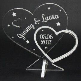 Trophée cadeau coeur gravé personnalisable avec prénoms du couple