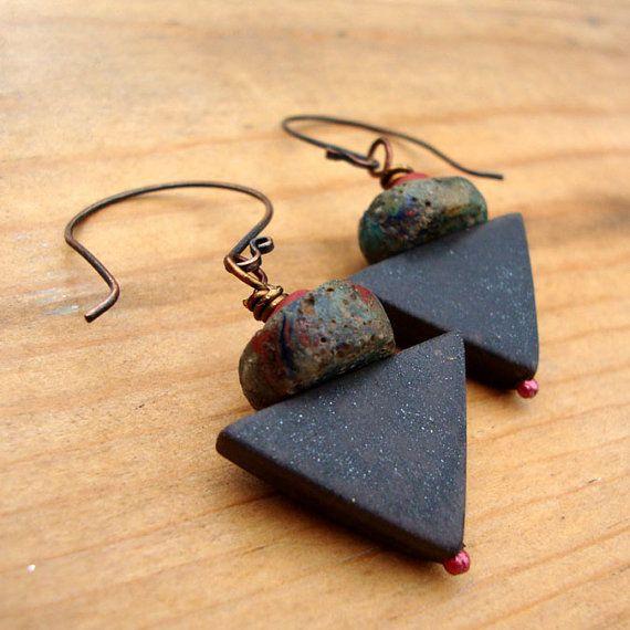 Rustic Tribal Earrings in Copper