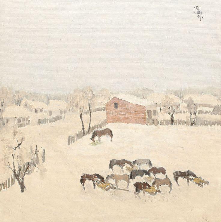 """Constantin Piliuţă, Herghelie - ulei pe pânză, 67,5 × 67,5 cm, semnat și datat dreapta sus, cu negru, """"C. Piliuță, (19)87"""