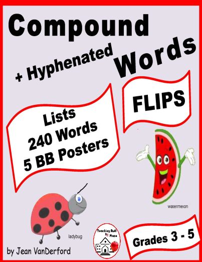 WORD LISTS: COMPOUND WORDS Flips - Flaps . . . REFERENCE for Student Interactive Vocabulary Notebooks for Compound Words Unit . . . Lists of 200 Compound Words, plus Hyphenated Words . . . Five Bulletin Board Posters, Writing & Drawing Activity . . . Reference lists have never been more fun! Grade 3-4-5 . . . © Jean VanDerford #teachersherpa