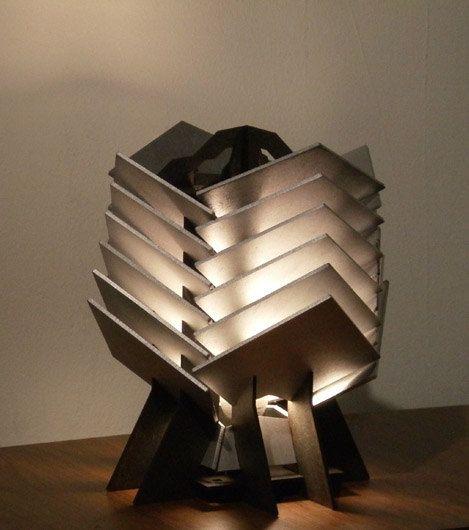 Crassula Table Lamp  geometric wood sculpture accent by SectorXero, $100.00