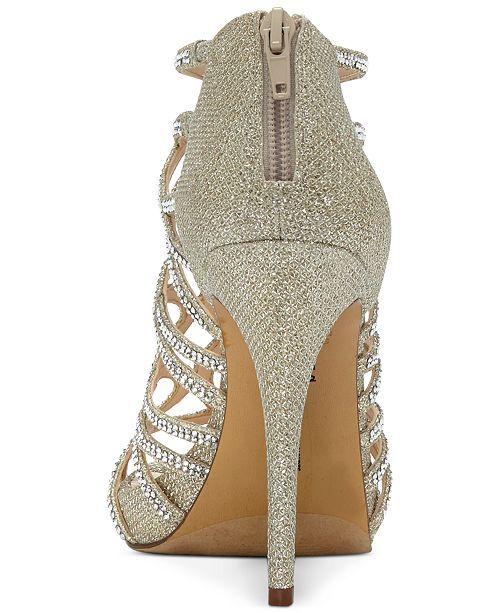 14a2ab0bf3 I.n.c. Women's Sharee High Heel Rhinestone Evening Sandals, Created for  Macy's - Gold 5.5M   Ultimate Heels   Evening sandals, High heels, Heels