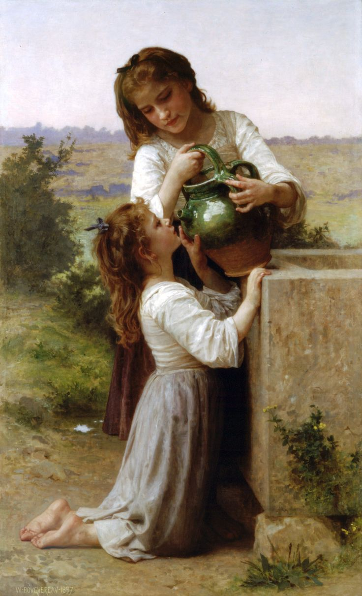 William-Adolphe Bouguereau, At The Fountain  I did not know he painted so many pictures.  They are all so beautiful!!