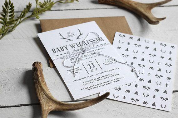 Printable Rustic Baby Boy Shower Invitation - Custom Baby Shower Invite - Oh Deer Antler Theme Baby Shower Invitation - Woodland Invitation