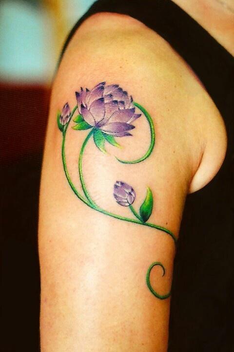 Purple Lotus Flower Tattoo On Arm