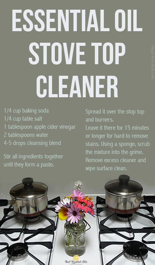 You can make homemade natural stove top cleaner using doTERRA essential oil. Just follow these simple instructions: doTERRA Stove Top Cleaner Recipe 1/4 cup baking soda 1/4 cup table salt 1 tablespoon apple cider vinegar 2 tablespoons water 4-5 drops of doTERRA Purify cleansing blend 1. Stir all ingredients together until they form a paste …