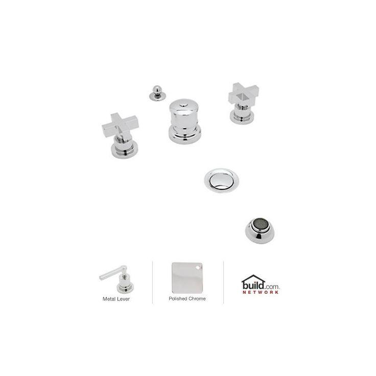 Rohl BA595X Modern Widespread Bidet Faucet with Metal Cross Handles Polished Chrome Faucet Bidet Vertical Spray