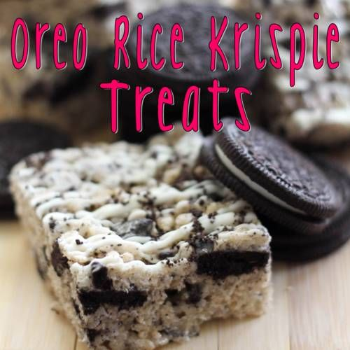 6 cups Rice Krispie cereal 	 	 20 Regular Oreos, crushed 	 	 5 cups mini marshmallows 	 	 3 tablespoons butter 	 	 2 cups white chocolate for drizzle