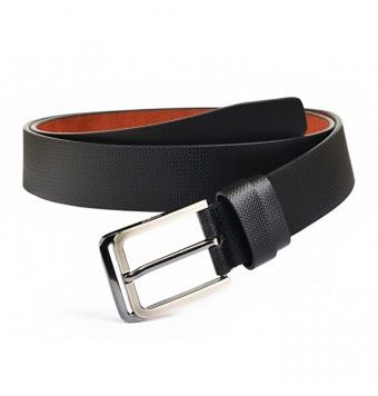 Glossy Black Grainy Textured Soft Leather Belt, Pin Buckle