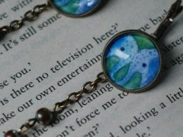 TITIRI Handmade earrings with a custom drawing under the glass cabochon- elephants (aquarell pencils)