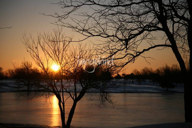 """""""Frozen Sunrise"""" by Chris Wolters Photography, Missouri // A reflection of the sun shown against the frozen pond at LA Nickell Golf Course in Columbia Missouri just as the sun crept over the horizon. // Imagekind.com -- Buy stunning, museum-quality fine art prints, framed prints, and canvas prints directly from independent working artists and photographers."""