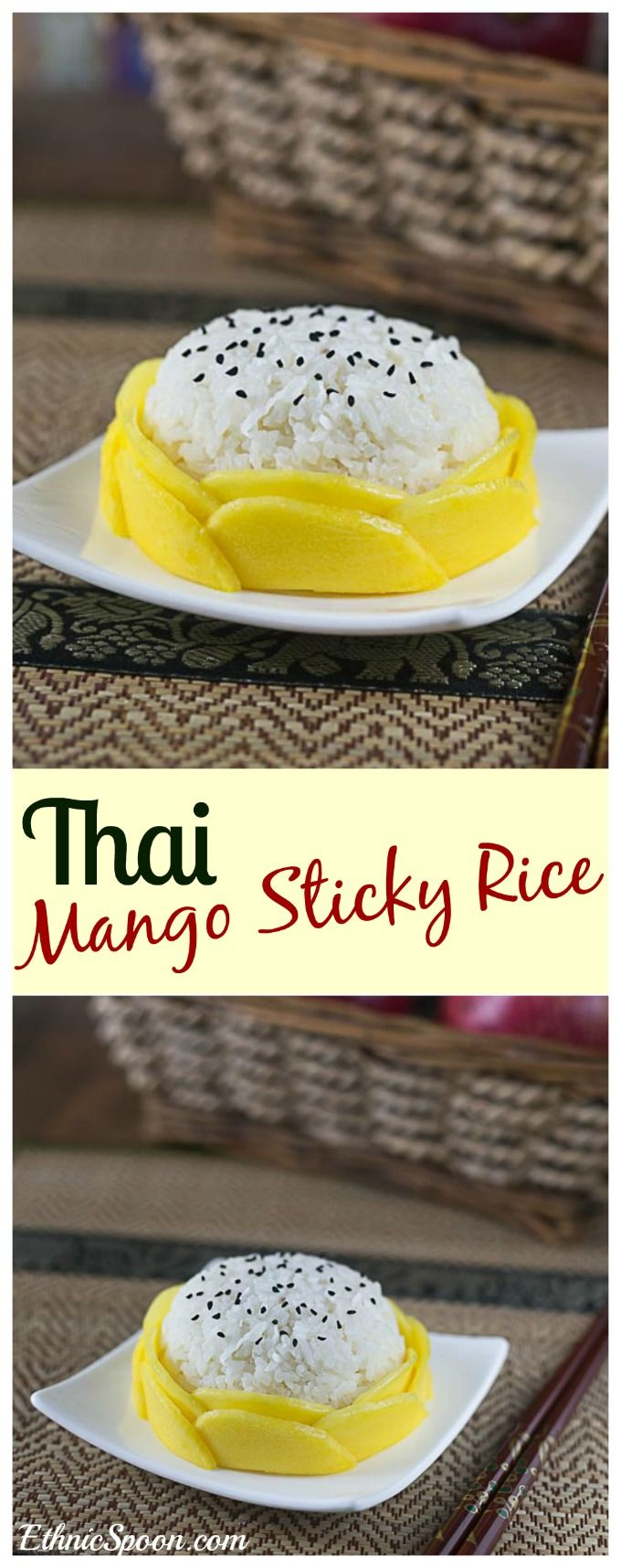 A fabulous dessert recipe from Thailand: Thai Mango sticky rice is easy, sweet and delicious. | ethnicspoon.com
