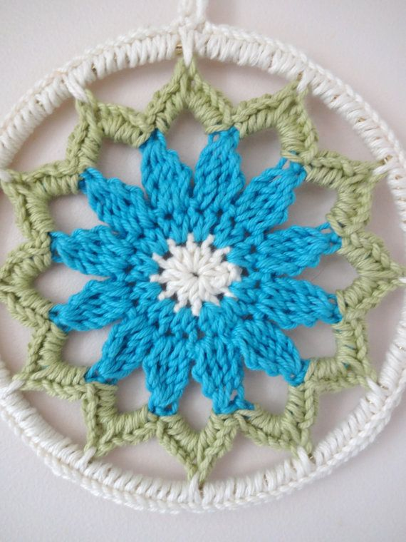 6 pulgadas Teal azul flor Crochet Mandala por MycoCrochet en Etsy