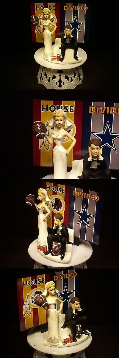 Wedding Cakes Toppers: House Divided Cowboys Redskins Football Rivalry Bride Groom Wedding Cake Topper -> BUY IT NOW ONLY: $69.99 on eBay!
