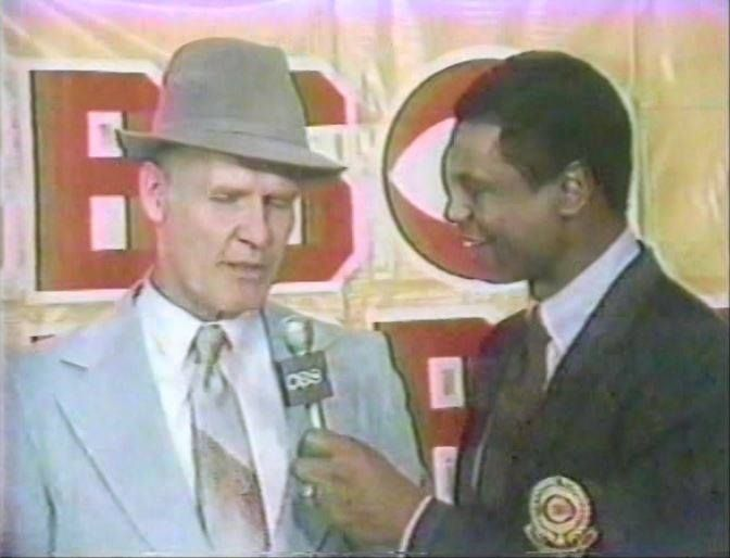 The NFL Today's Irv Cross interviews head coach TOM LANDRY following the Cowboys' defeat over the LA Rams in the Wild Card playoff game on December 28, 1980