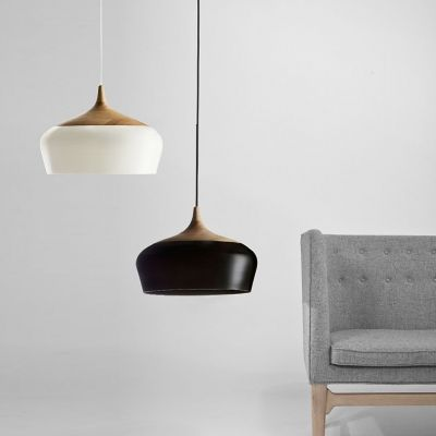 Wood and Aluminum Bowl Large Pendant Light in Designer Style