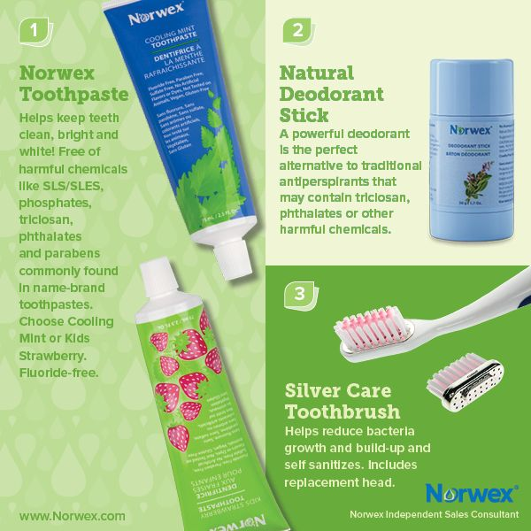 Norwex (1) Toothpaste, (2) Natural Deodorant Stick, (3) Silver Care Toothbrush. For Facebook parties, online events and marketing.