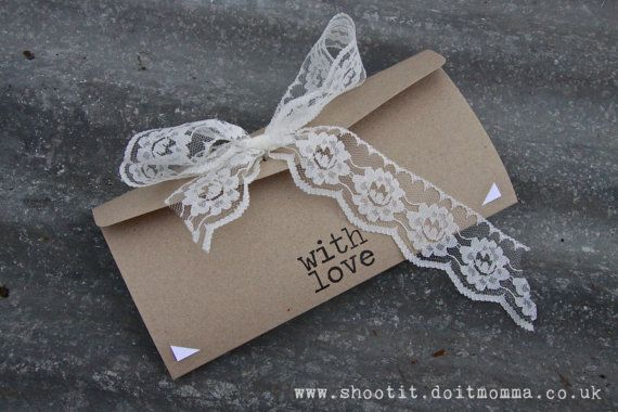 English Country Garden Wedding Invitation- Rustic Card with Lace & Bunting.