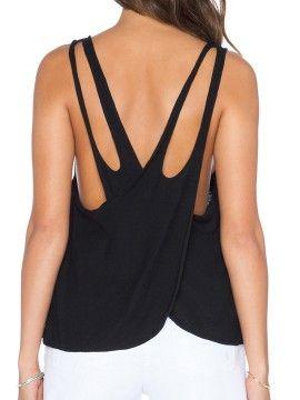 Black Strappy Wrap Back U Neck Loose Vest