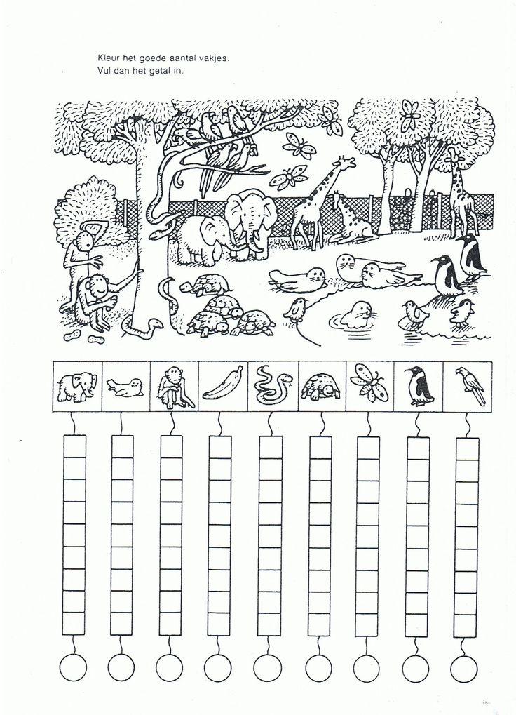 .Hoe veel dieren zie je? Kleur de rondjes.