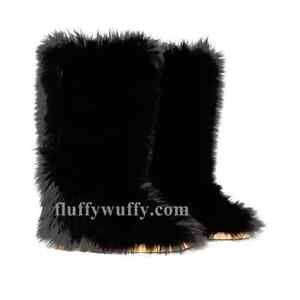 Original-mullido-Wuffies-NEGRO-SZ-5-Faux-Piel-Botas-Fuzzy-mullido-Big-fur-Boots