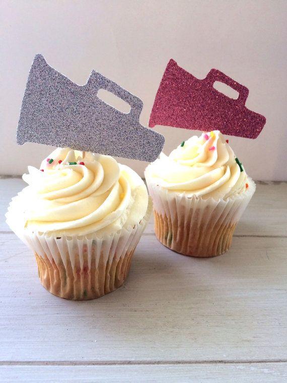 Glitter Cheerleading Megaphone Cupcake Topper by EllaJaneCrafts
