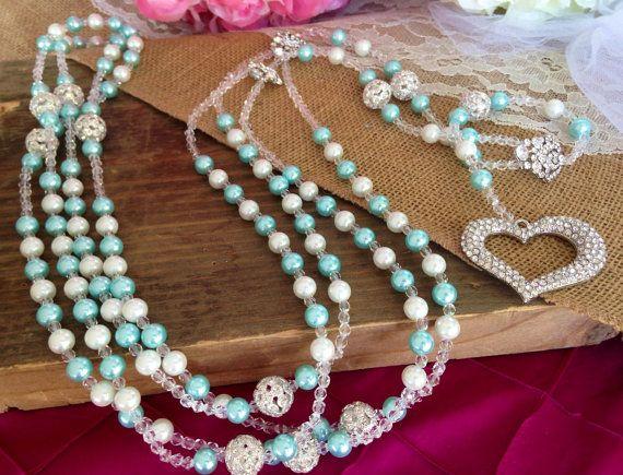 Tiffany Blue Crystal Pearls Wedding Lasso With by WEDDINGLASSOS, $165.00