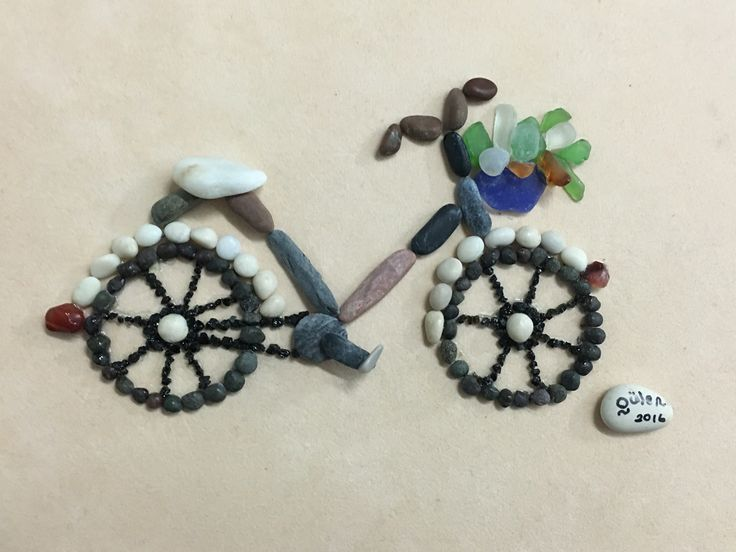 Pebbleart and Sea glass bicycle by gülen