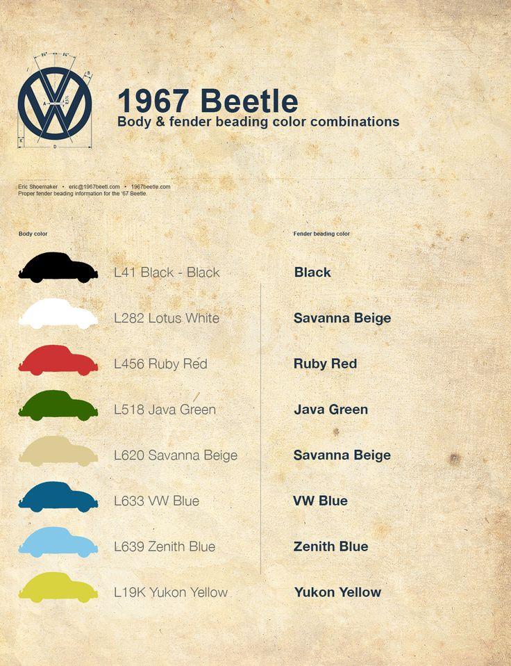 Correct Fender Beading Color Combinations | 1967 VW Beetle1967 VW Beetle