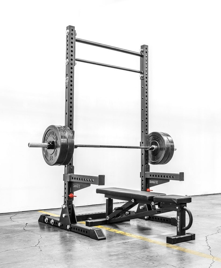 Rouge Squat Rack Plus Bar With Rubber Plates Fitness