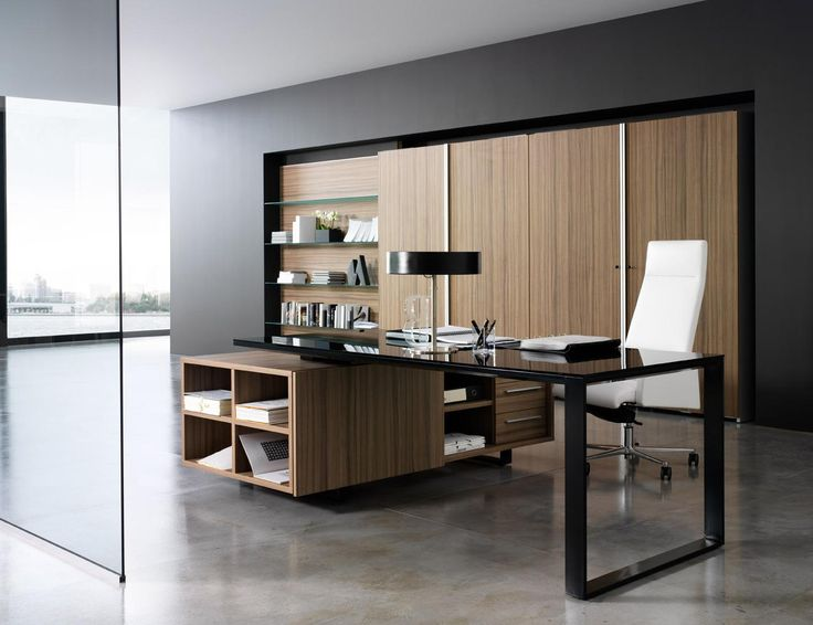 Stunning Office Furniture Design With Black Glass