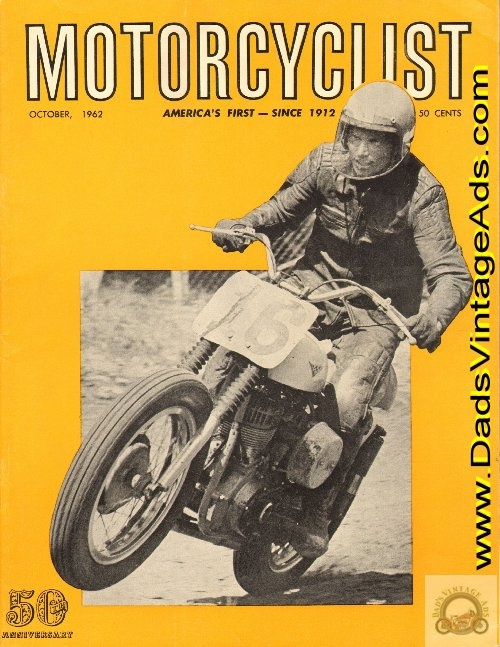 1962 Dick Hammer astride a Harley-Davidson at the AMA National TT at Peoria, Illinois