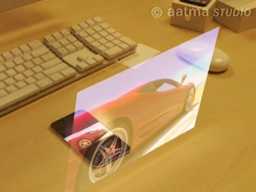 A rumored iPhone 5 smartphone with holographic technology....