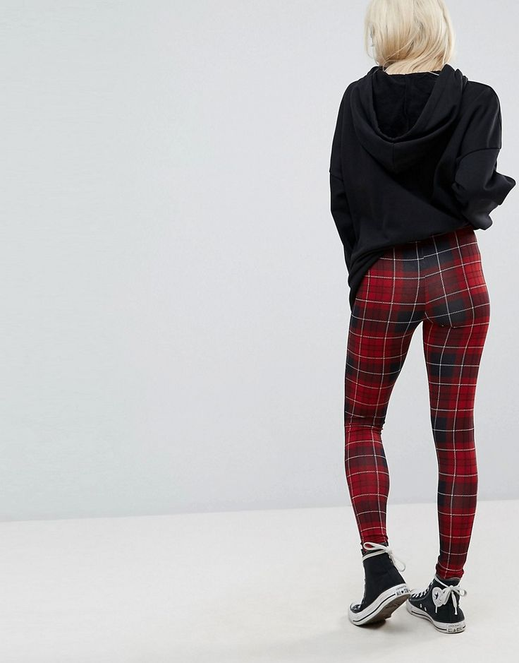 ASOS PETITE Legging in Check Print - Multi