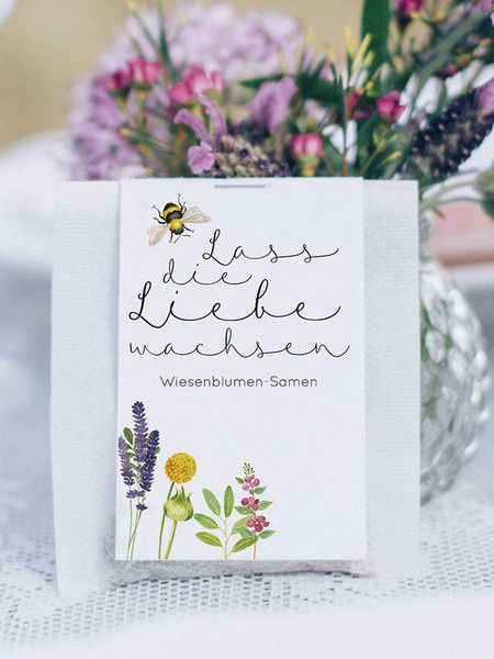 """Gastgeschenke - 50 Stück: Gastgeschenke """"Blumensamen, Wiesenblume"""" - ein Designerstück von FEIERfein bei DaWanda"""
