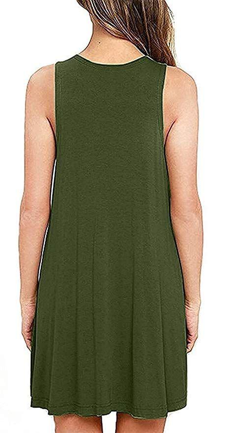6130e035e5 Women Summer Casual T Shirt Dresses Beach Cover up Plain Pleated Tank Dress# Shirt,