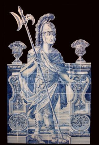 """Halberdier"" Welcoming Personage representing a roman halberdier between two columns with a background landscape. 18th century, barroque period  d'orey tile shop in Lisbon"