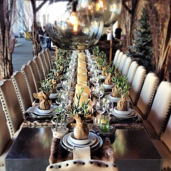 Decorator moss placed between flameless candles for a simple centerpiece!