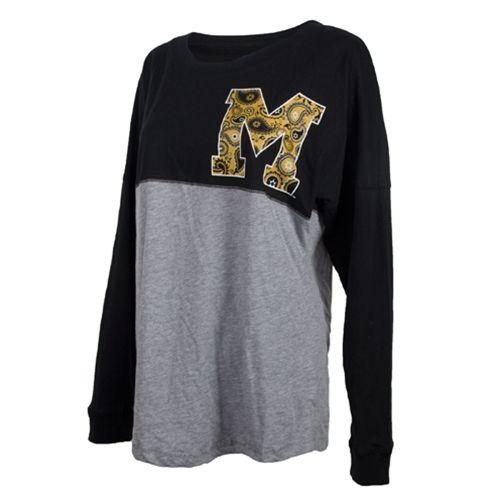 Mizzou Junior's Official Paisley Black & Grey Crew Neck Shirt from The Mizzou Store