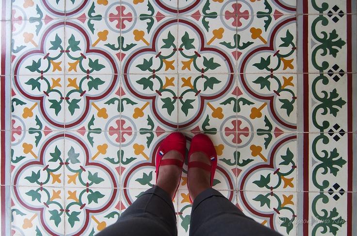 Floor tiles at Sultan's Palace in Yogyakarta (Jogjakarta), Indonesia  cc. @Indonesia Travel
