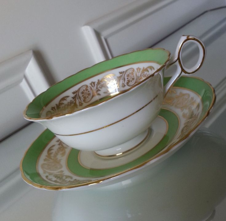 Antique Royal Cauldon Vice Regal green and gold tea cup and saucer, English tea set, bone china wedding gift by Pickedtwice on Etsy