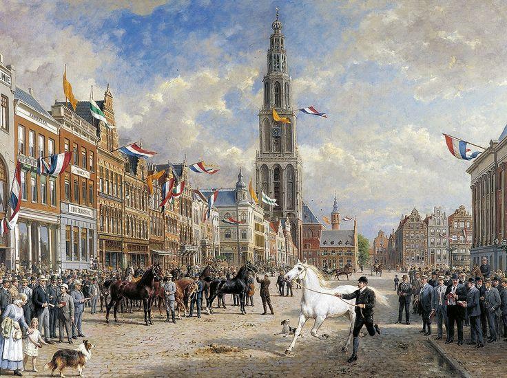 Paardenkeuring Grote Markt Groningen. Schilderij van Otto Eerelman
