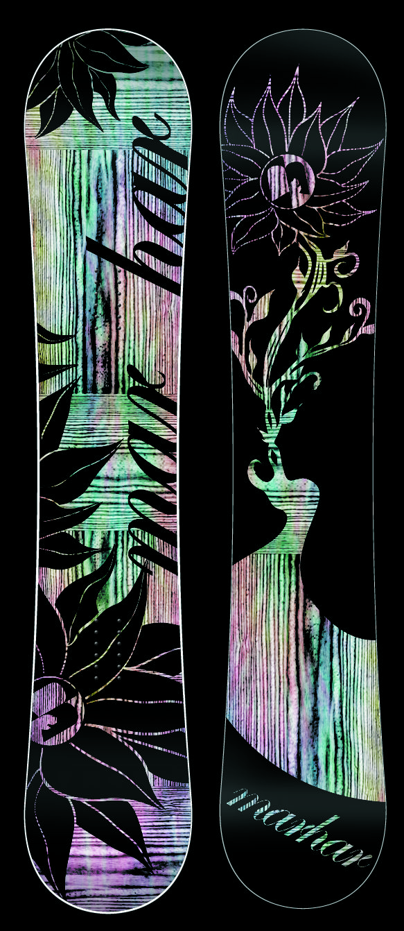 BLOOM [Park Oriented, Groomer Ripping Princess] For the lady that enjoys a super playful, flex and responsive deck. The rocker profile combined with a super soft, buttery flex makes this great for beginners as well as the advanced rider. Carbon, Attack Arc and a soft flex pattern create wild amounts of pop and responsiveness for all your freestyle needs. Don't be confused as this park ripper can tear up groomers as well. #snowboards #snowboarding #style #graphic #design #flower #women #board