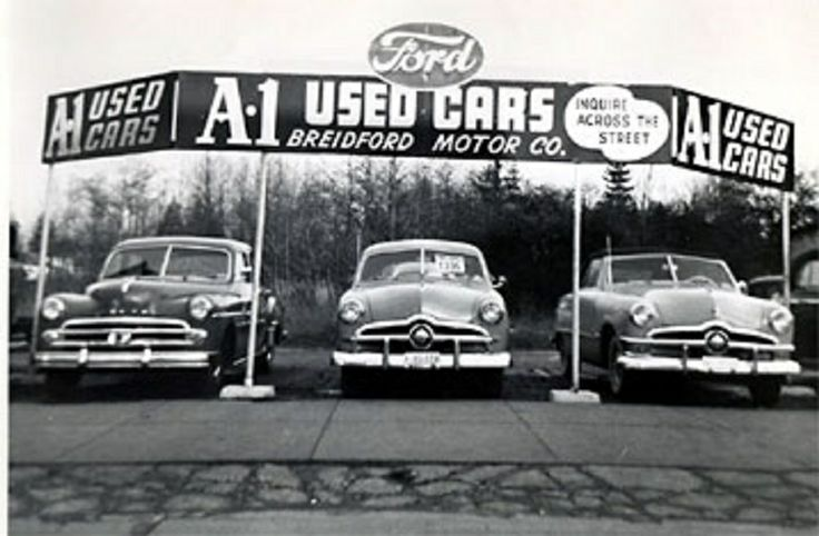 used car lot early 1950 39 s storefronts billboards signs pinte. Black Bedroom Furniture Sets. Home Design Ideas