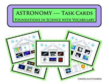 Task Cards that include 90 Earth Science - ASTRONOMY terms (vocabulary).  Use these for a variety of purposes to reinforce key concepts with Astronomy.  Great for review and differentiation.This engaging activity for students will help review the following key vocabulary terms used in astronomy.