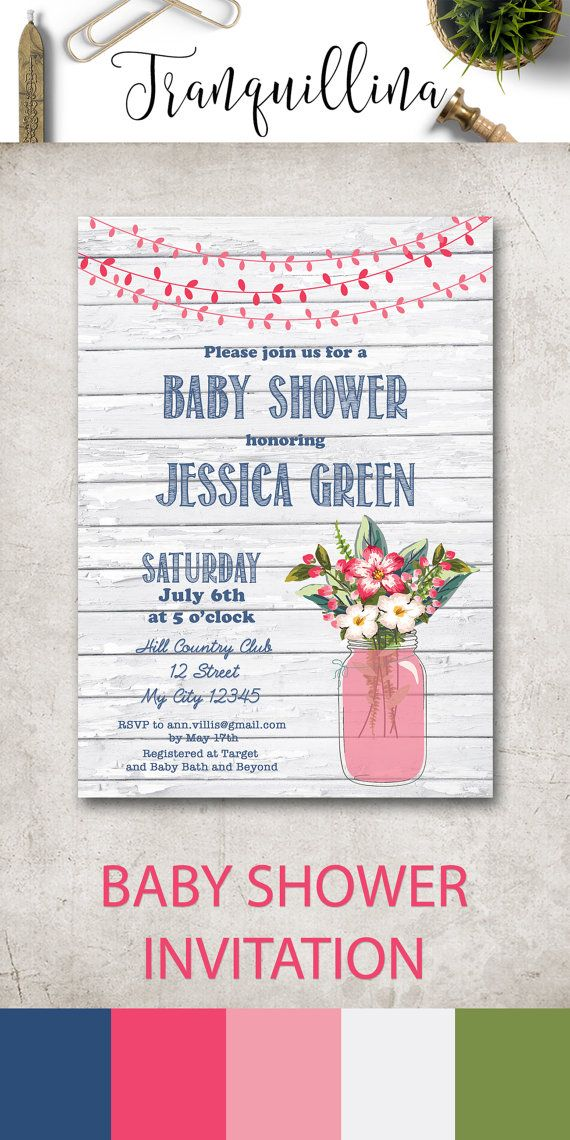 Mason Jar Baby Shower Invitation Printable, Country Baby Shower Ideas, DIY Baby Shower Printables, Rustic Baby Shower Invitation, Pink and Blue Baby Shower Invites for baby girl. More cute & modern floral baby invitations at: tranquillina.etsy.com