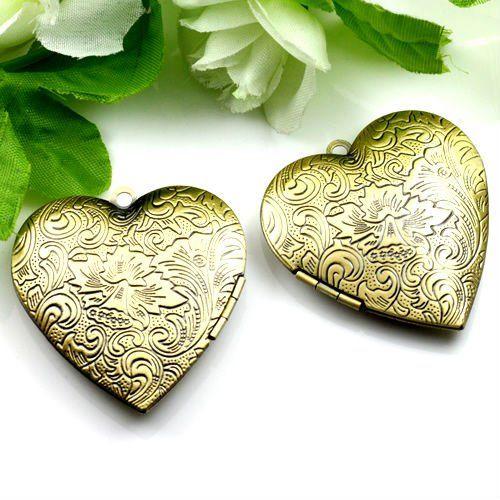 Прямая поставка подвеска DIY латунный бронзовый медный европейский античном стиле формы сердца цветок фото коробки медальон ювелирные изделия 1131008