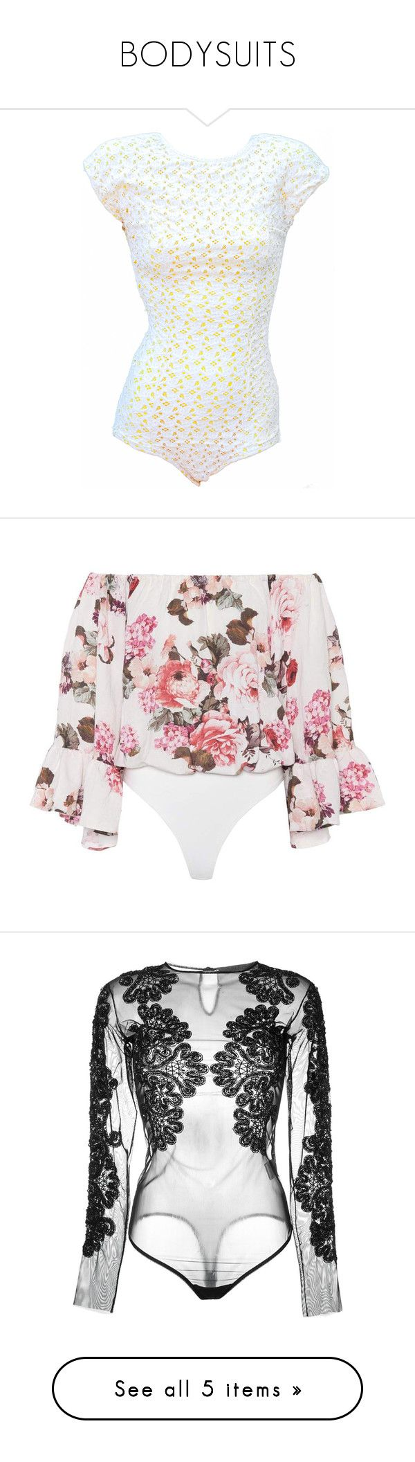 """""""BODYSUITS"""" by kareng-357 ❤ liked on Polyvore featuring swimwear, one-piece swimsuits, pin up swimsuit, lace swimsuit, yellow one piece swimsuit, one piece pinup swimsuit, lace one piece swimsuit, intimates, shapewear and bodysuits"""