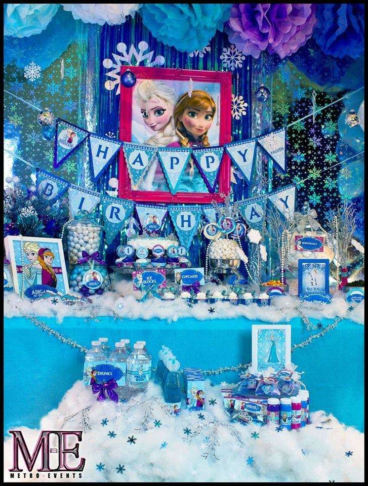 Amazing dessert table at a Frozen birthday party!  See more party planning ideas at CatchMyParty.com!