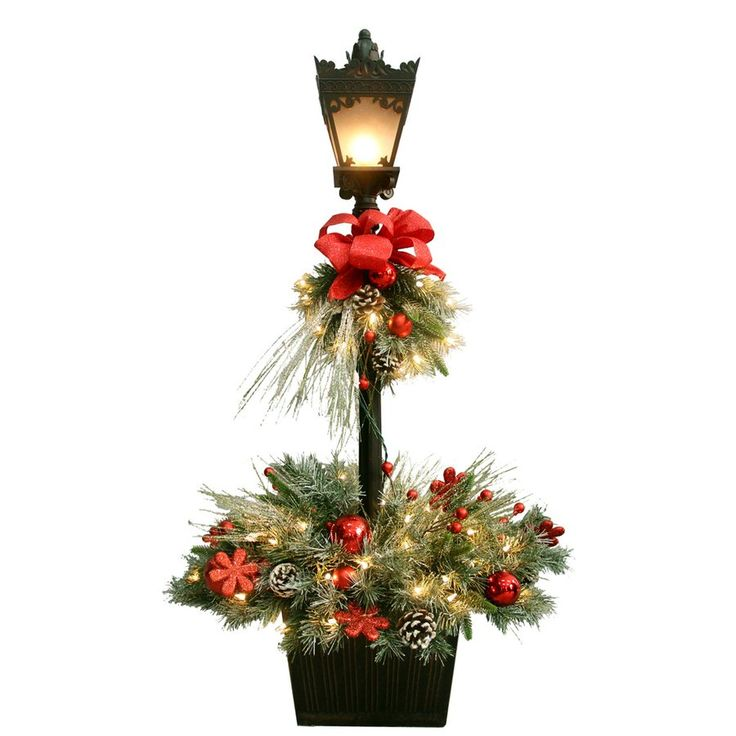 GE 4-ft Pre-Lit Decorated Artifical Pine Lamp Post with ...